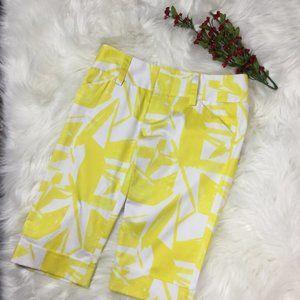 Alice & Olivia Yellow/White Walking Shorts w/cuffs